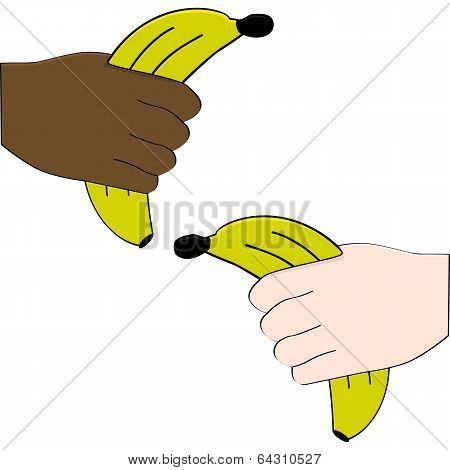 Hands Holding Bananas