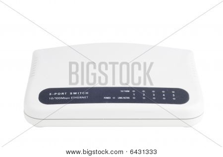 Ethernet Switch On White Background. Front View.