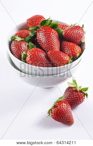 Fresh Strawberry In Double Bowl On White Background Side View