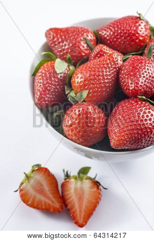 Fresh Strawberry In Bowl On White Background Closeup