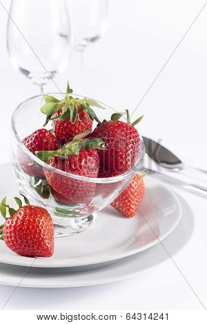 Festive Table Set With Strawberry On White Background