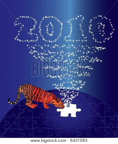 Puzzle Christmas Tiger