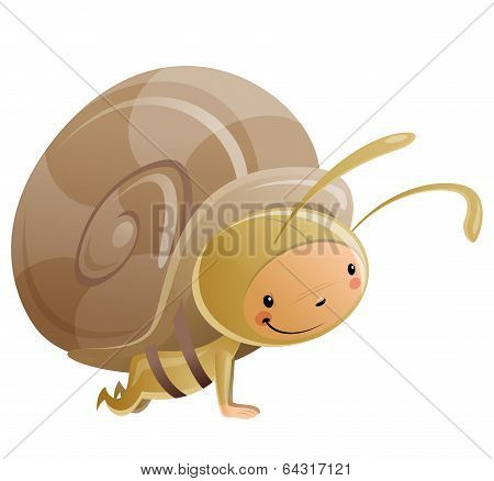 Cartoon Happy Smiling Kid Wearing Funny Carnival Snail Costume
