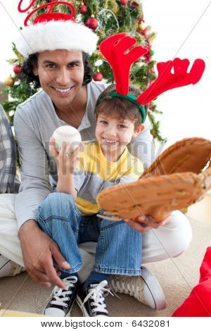 Father and his son having fun at Christmas time