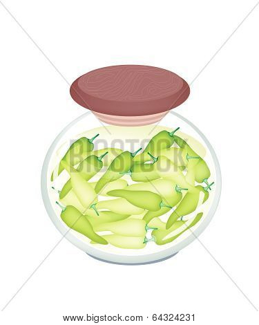 A Jar Of Pickled Sweet Peppers With Malt Vinegar