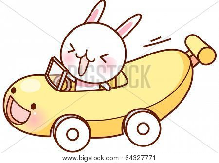 A vector illustration of banana car driven by a cute rabbit