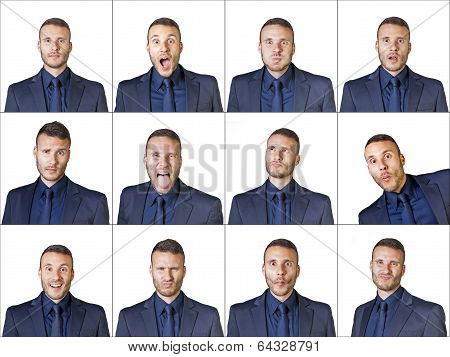 Businessman Expressions Composition