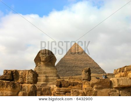 Giza Pyramids And Sphinx. Egypt.