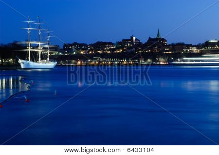 Panoramic Night View Over Skepsholmen (stockholm)