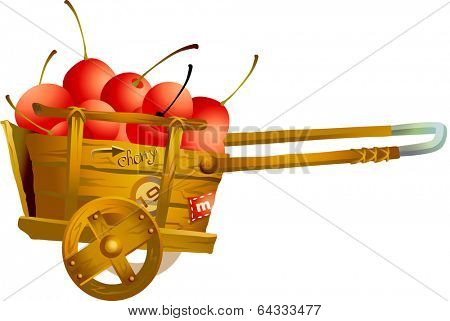 Vector illustration of a cart with cherries