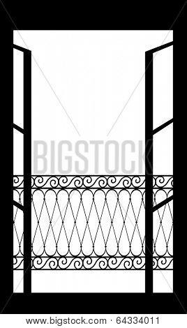 Vector illustration of an open window