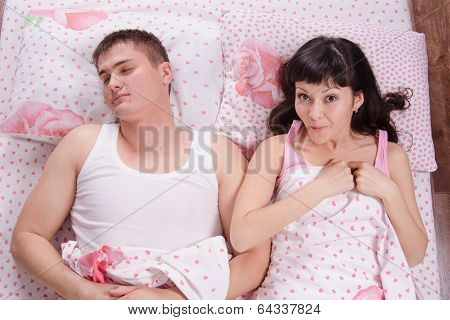 Girl With Surprise Woke A Sleeping Man In Bed