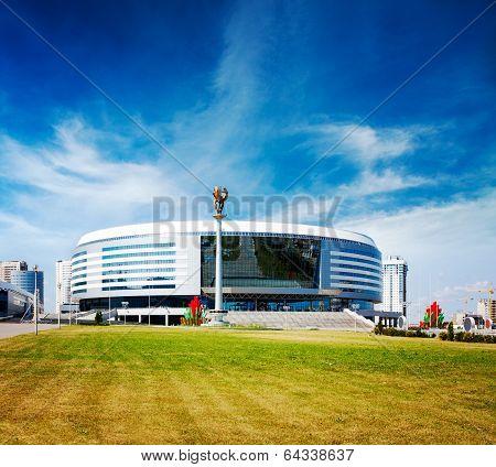 MINSK, BELARUS - JULY 04 - Minsk Arena on July 4, 2013 in Belarus. Ice Hockey Stadium.