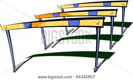 Vector illustration of three hurdles