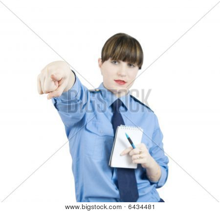 Pointing Woman In Uniform.
