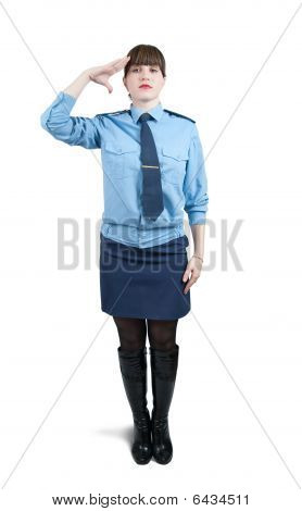 Woman In Uniform  Over White