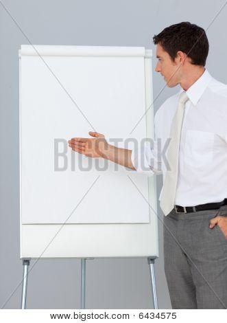 Attractive Businessman Giving A Presentation