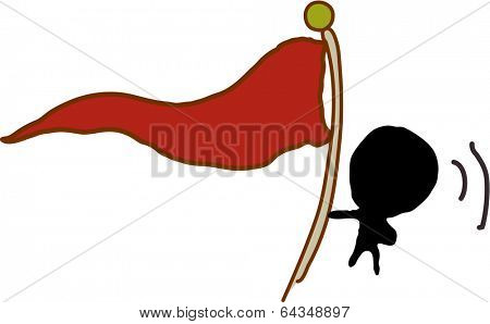 Vector illustration of a silhouette holding a flag