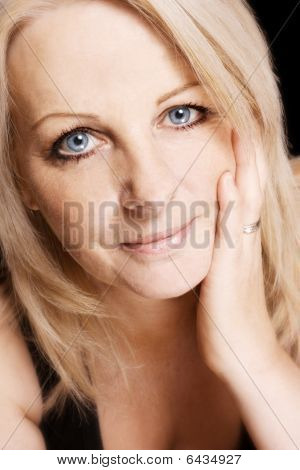 Close Up Of A Middle Aged Woman