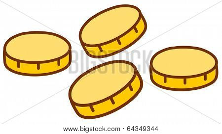 Vector illustration of four coins