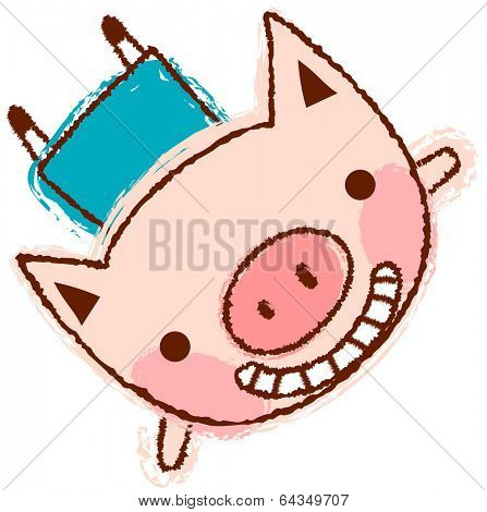 Vector illustration of a happy pig flying
