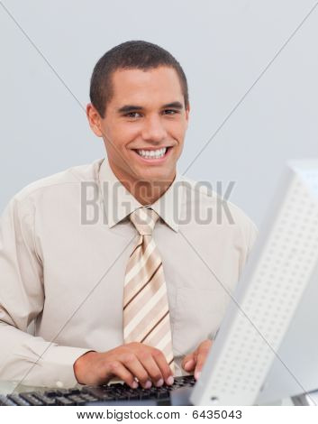 Businessman Working With A Computer In The Office