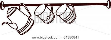 Vector illustration of a cup rack