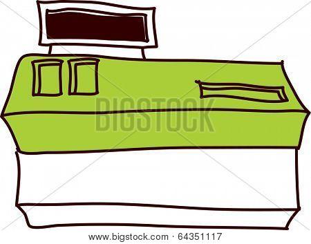 Vector illustration of checkout desk