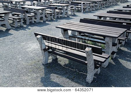 Wooden Bench In Open Air Restaurant