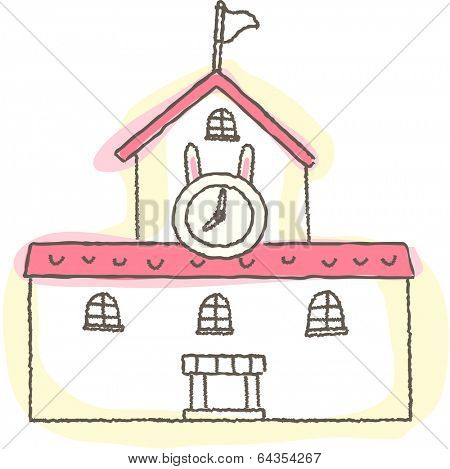 Vector illustration of a house with clock