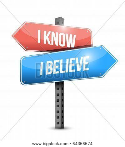 I Know I Believe Signpost Illustration Design