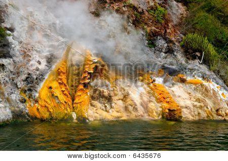Steaming Cliffs (Donne Cliffs), Lake Rotomahana, Waimangu Volcanic Valley, Rotorua, New Zealand