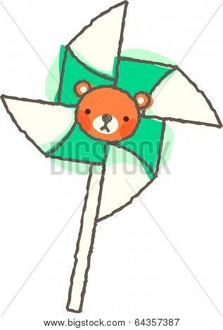 Vector illustration of pinwheel with bearface
