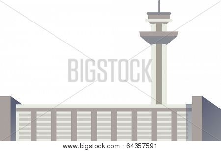 Vector illustration of on an air traffic control tower