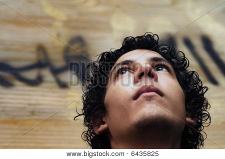 Boy Face On Grunge Background
