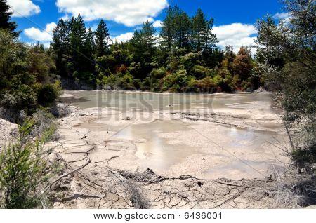 Splashes of boiling mud