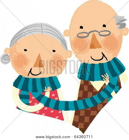 The view of old couple with muffler