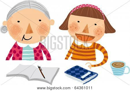 The view of grandmother and girl at the desk