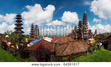 Panorama of Balinese temple Pura Besakih at sunny day, Bali, Indonesia