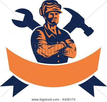 construction worker with arms locked and spanner and hammer