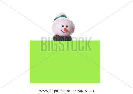 Christmas Green Card With Snowman