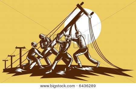 Team of linemen raising up electricity post
