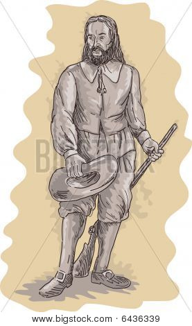 Pilgrim standing holding a musket rifle