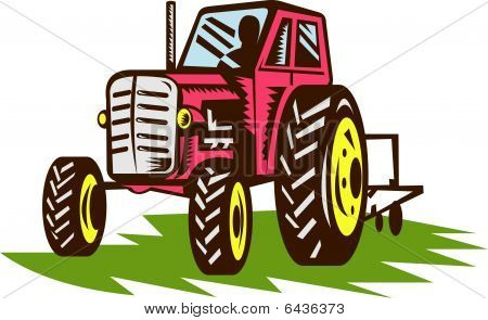 vintage tractor done in woodcut style