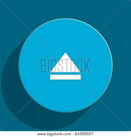 eject blue flat web icon