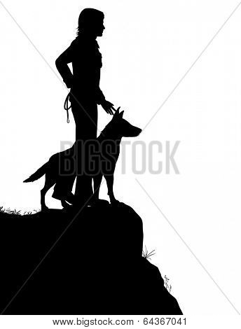 Illustrated silhouette of a man and his dog standing on a rocky outcrop