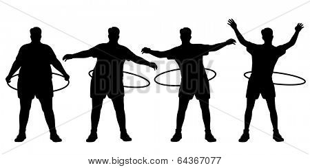 Illustrated sequence of a man losing weight through hula hoop exercise