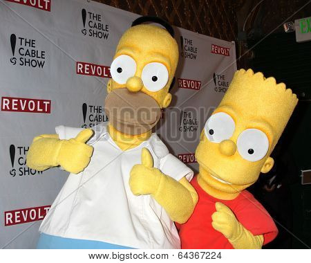 LOS ANGELES - APR 30:  Homer Simpson, Bart Simpson at the NCTA's Chairman's Gala Celebration of Cable with REVOLT at The Belasco Theater on April 30, 2014 in Los Angeles, CA