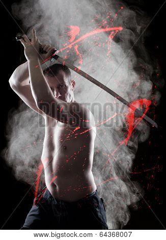Warrior  with his Katana sword over smoky background