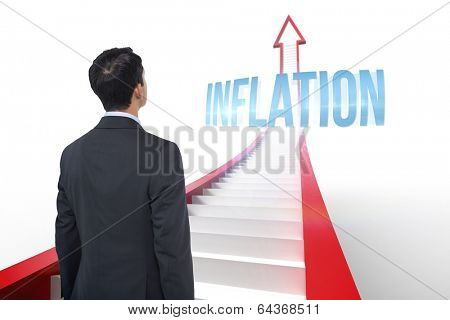 The word inflation and asian businessman against red arrow with steps graphic